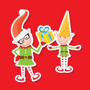 Illustration of the playful Santa elves - stock illustration
