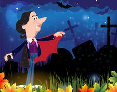Old vampire in the night cemetery - stock illustration