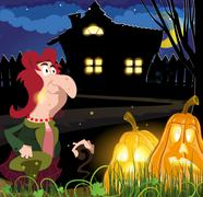 Old witch near the house Stock Illustration