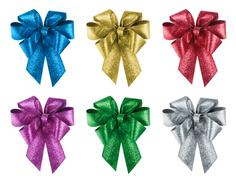 Set of nice gift bows in 6 different colours - stock photo