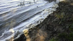 Foam Pollution in the River Stock Footage