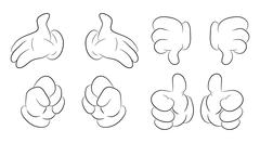Image of cartoon human hand gesture set. Vector illustration isolated on whit Stock Illustration
