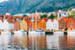 Blurred Architecture Background of Bergen, Norway Stock Photos