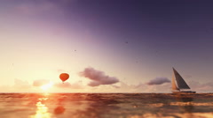 Sunrise summer time, air balloon and yacht sailing, flight over sea Stock Footage