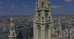 Rathaus Vienna - Town Hall & Rathauspark. Aerial View Stock Footage