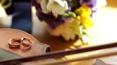 Wedding rings are on the violin. - stock footage
