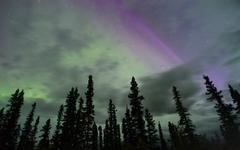 Northern Lights Aurora Borealis Alaska Night Sky Astronomy - stock photo