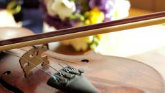 Panorama of the old violin. - stock footage