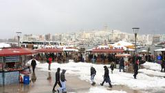 Winter at Eminonu Pier looking to Goldenhorn and Galata Tower. Stock Footage