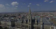 Rathaus Vienna - Town Hall. Rathauspark. Aerial View. 4K Stock Footage
