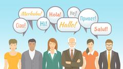 Foreign language school for adults flat illustration Stock Illustration