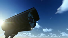 Outdoor Surveillance Camera, timelapse clouds, sun shinning Stock Footage