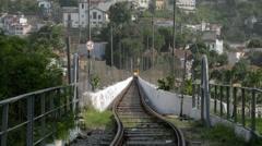 New Santa Teresa Tram (Bonde) Arriving - Lapa Arches - Rio de Janeiro Stock Footage