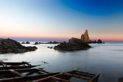 Sea after sunset at Cabo del Gata, Almeria, Spain Stock Photos