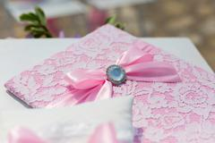 Wedding folder and pillow with rings Stock Photos