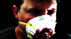 Man breathing mask spastic horror Stock Footage