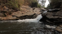 Small Waterfall Rock Face Cliff Pool Water River Lake Nature Wild 50fps Stock Footage