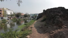 Ancient Thai Brick Fort Castle Wall By River Moat Street City Road Traffic Stock Footage