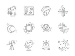 Linear icons collection for astronomy - stock illustration