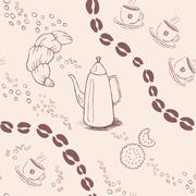 Seamless background pattern with coffee beans and cups. Vector illustration - stock illustration