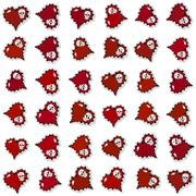 Seamless pattern with ornate red hearts and skulls - stock illustration