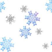 Seamless snowflakes pattern on white bakground Stock Illustration