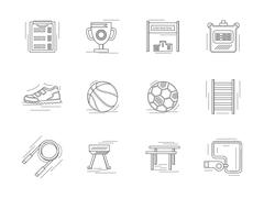 Linear icons set for physical education Stock Illustration