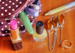 Make up bag with cosmetics Stock Photos
