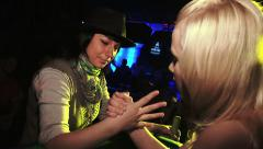 Women's competition arm wrestling club at the party - stock footage