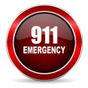 number emergency 911 red circle glossy web icon, round button with metallic b - stock illustration