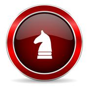 chess horse red circle glossy web icon, round button with metallic border - stock illustration