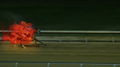 Horse Racing on Fire in VFX Slow Motion Stock Footage
