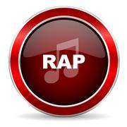 rap music red circle glossy web icon, round button with metallic border - stock illustration
