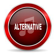 alternative music red circle glossy web icon, round button with metallic bord - stock illustration
