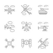 Military drones linear vector icons set Piirros