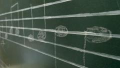 Musical notes on a blackboard - stock footage