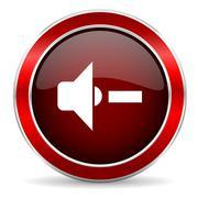 speaker volume red circle glossy web icon, round button with metallic border - stock illustration