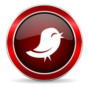 Twitter red circle glossy web icon, round button with metallic border Stock Illustration
