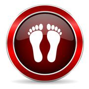foot red circle glossy web icon, round button with metallic border - stock illustration