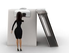 3d woman write on clip board concept - stock illustration