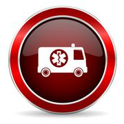 ambulance red circle glossy web icon, round button with metallic border - stock illustration