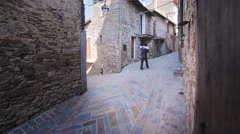 Couple's honeymoon Italian town Stock Footage