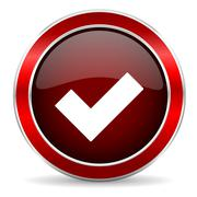 Accept red circle glossy web icon, round button with metallic border Stock Illustration