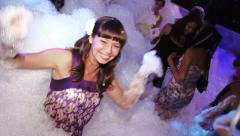 Foam party in a nightclub Stock Footage