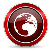 earth red circle glossy web icon, round button with metallic border - stock illustration