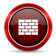 Firewall red circle glossy web icon, round button with metallic border Stock Illustration