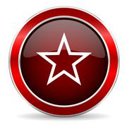 Star red circle glossy web icon, round button with metallic border Stock Illustration