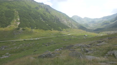 Road between the mountains at Transfagarasan Stock Footage