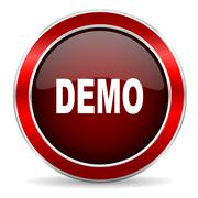Demo red circle glossy web icon, round button with metallic border Stock Illustration