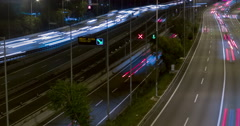 Night scene of traffic and roads.Time Lapse - Long exposure - 4K. (10) Stock Footage